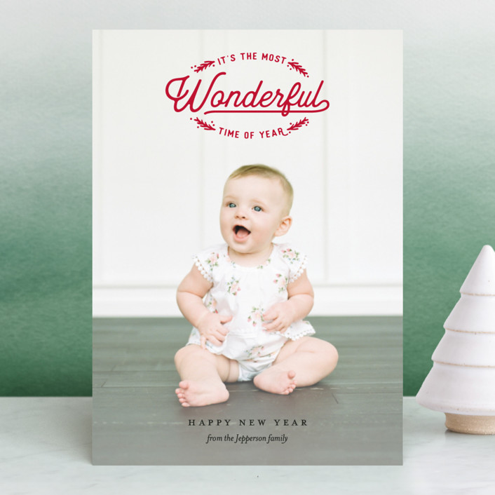 """""""Wonderful Time of Year"""" - Vintage Christmas Photo Cards in Berry by Eric Clegg."""