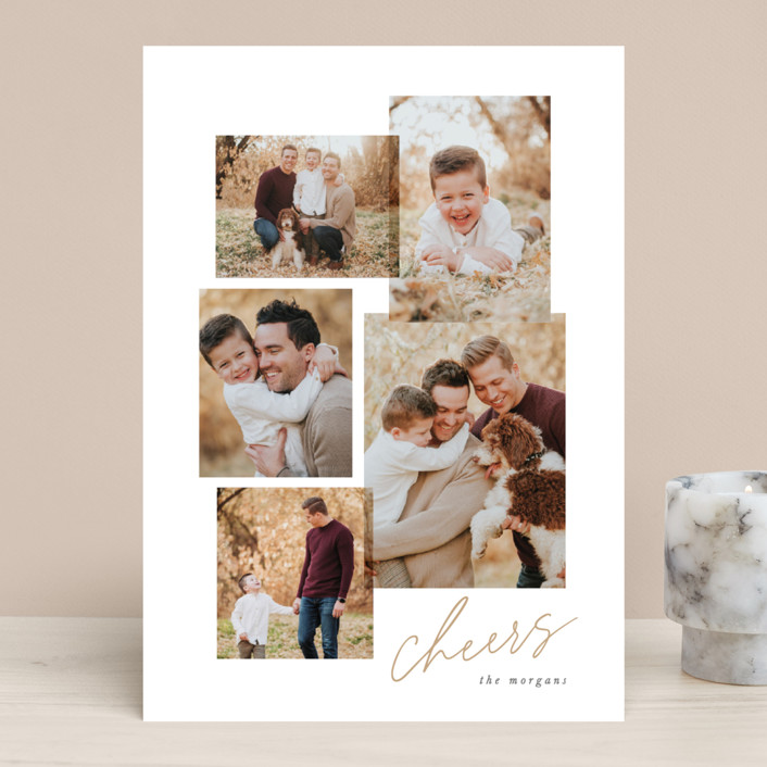 """Togetherness"" - Christmas Photo Cards in Ochre by Hooray Creative."