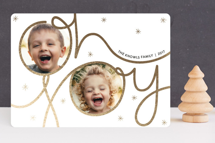 """Festive Joy"" - Modern Christmas Photo Cards in Gold by Bethan."