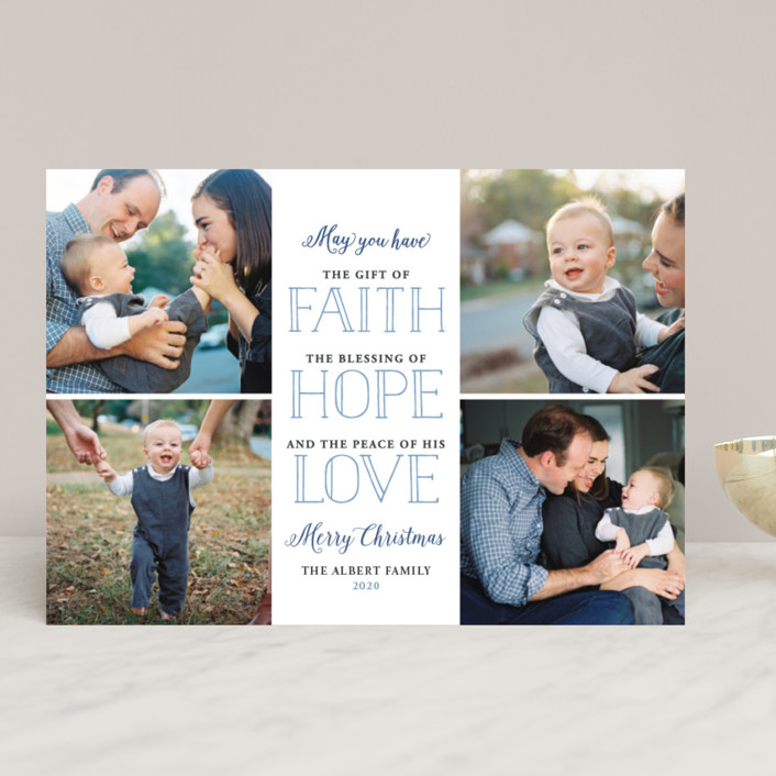 """""""Gift of Faith"""" - Christmas Photo Cards in Cotton by Jessie Steury."""