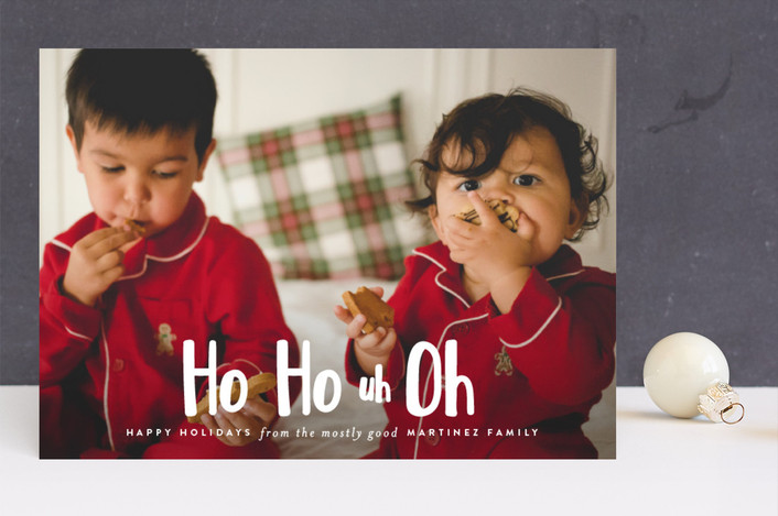 """Ho Ho uh Oh"" - Funny Christmas Photo Cards in Snow by Lori Wemple."