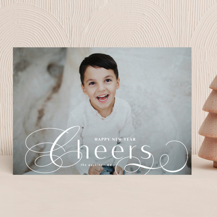 """""""Front Flourish"""" - Christmas Photo Cards in Snow by Lauren Chism."""