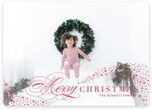 This is a red photo christmas card by Jennifer Postorino called Gentle Flurry with standard printing on smooth signature in standard.