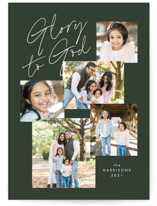 This is a green photo christmas card by Amy Payne called All the Glory to God with standard printing on smooth signature in standard.