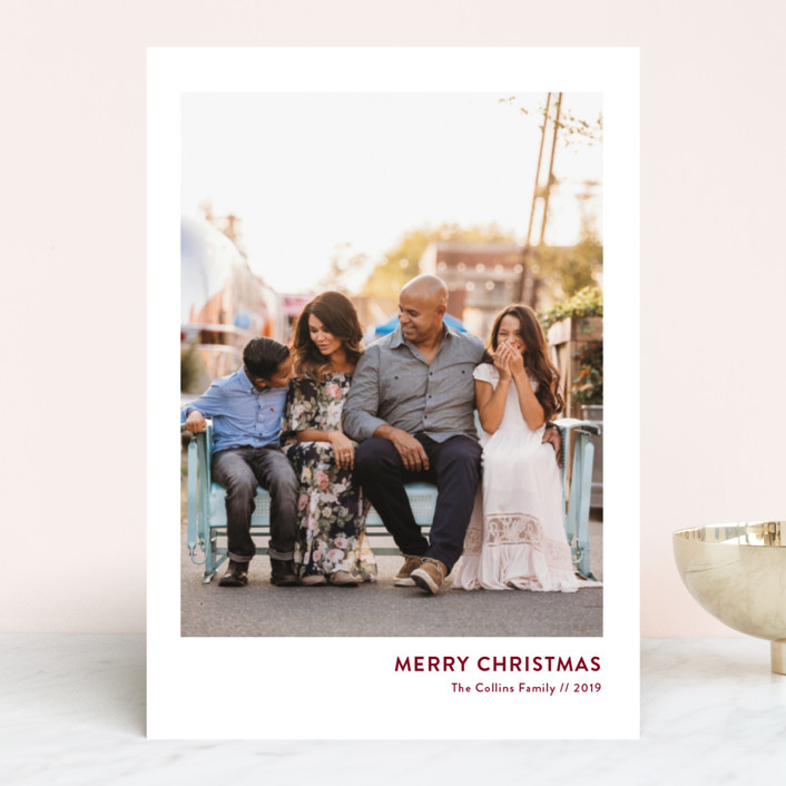 """""""Mod Christmas"""" - Christmas Photo Cards in Merlot by Christie Kelly."""