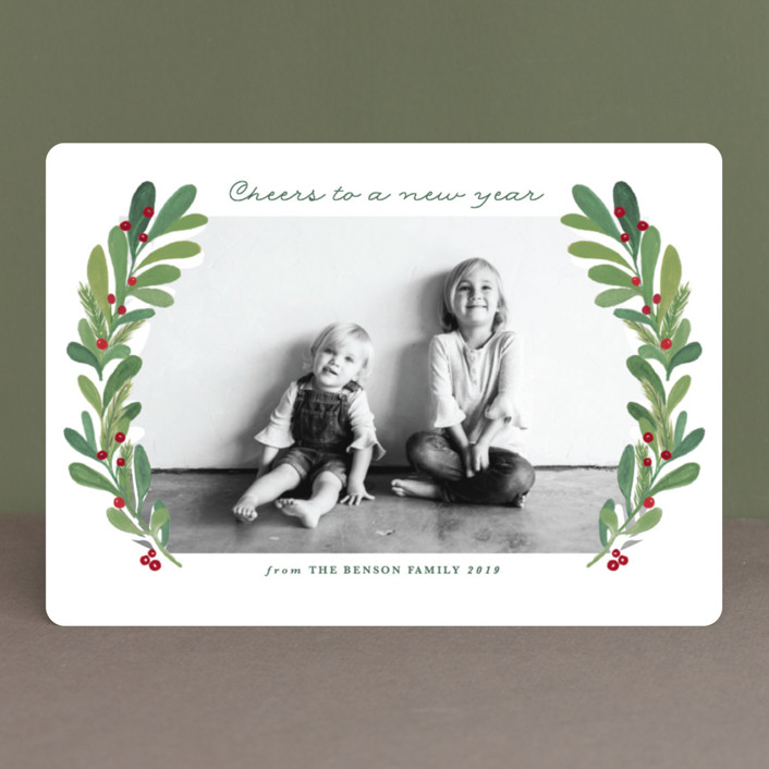 """""""gouached wreath"""" - Christmas Photo Cards in Garden by Sweta Modi."""