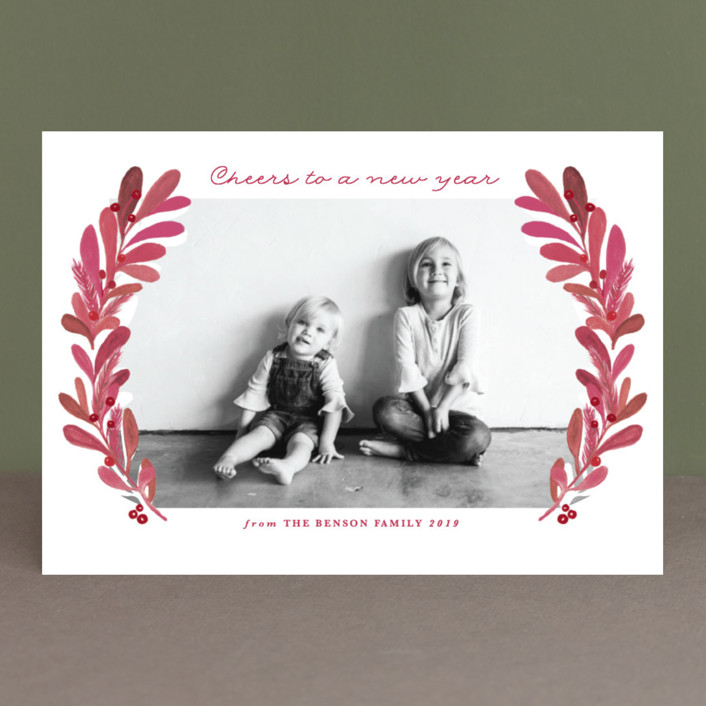 """""""gouached wreath"""" - Christmas Photo Cards in Lemongrass by Creo Study."""