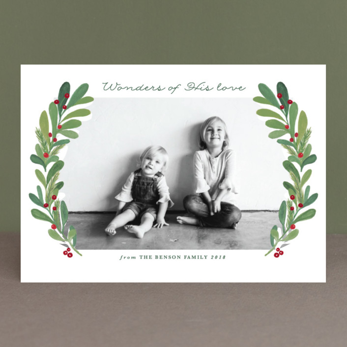"""gouached wreath"" - Christmas Photo Cards in Lemongrass by Creo Study."