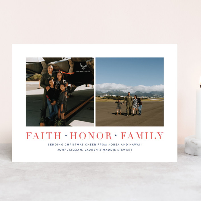 """Salute"" - Christmas Photo Cards in Patriotic by Toast & Laurel."