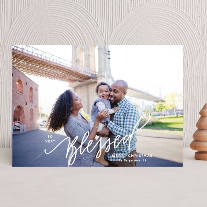 """""""So Very Blessed Lettered"""" - Christmas Photo Cards in White Pine by Itsy Belle Studio."""