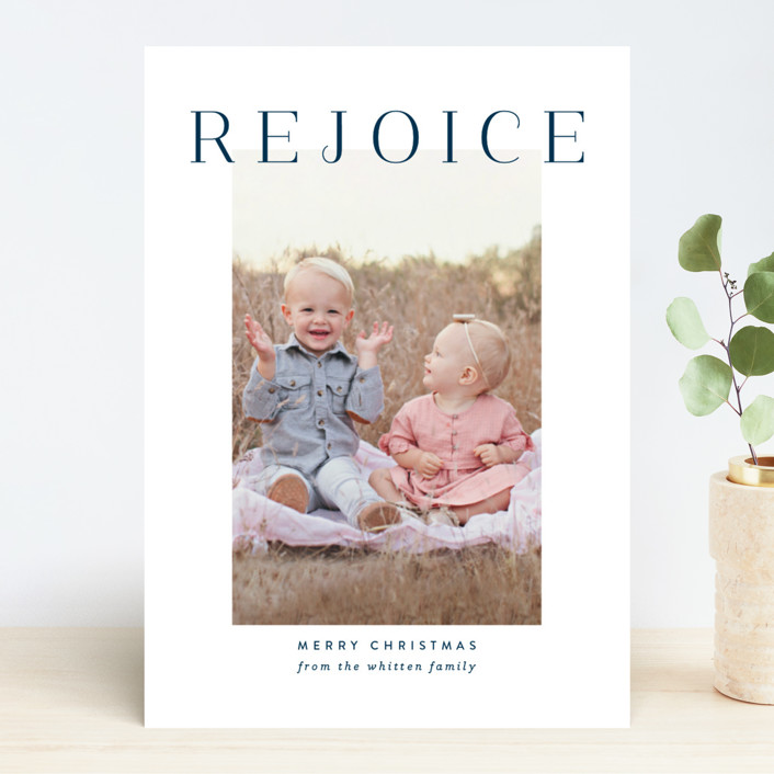 """""""Rejoice Simplicity"""" - Christmas Photo Cards in Blueberry by Jessica Williams."""