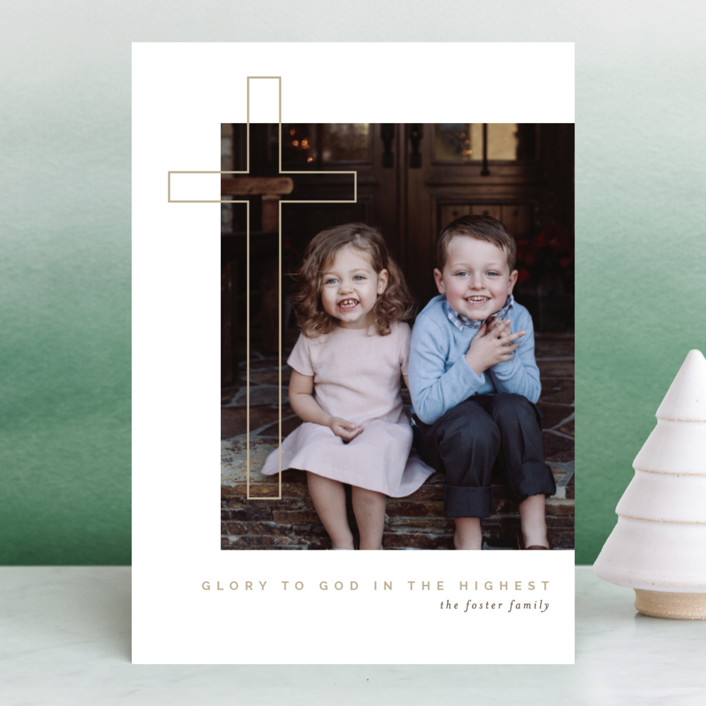 """""""Cross Glory"""" - Christmas Photo Cards in Sand by Pixel and Hank."""