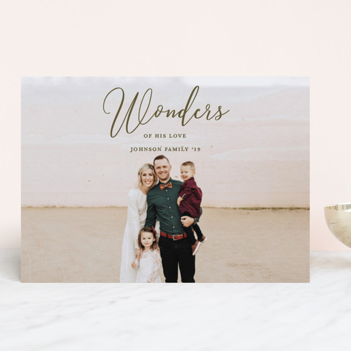 """Great Wonders"" - Christmas Photo Cards in Olive by Kasia Labocki."