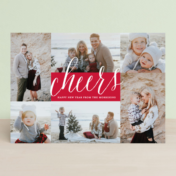 """Peace Overflowing"" - Christmas Photo Cards in Berry by Katherine Moynagh."