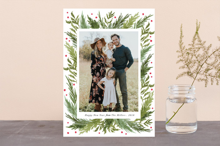 """Delight"" - Christmas Photo Cards in Moss by Elly."
