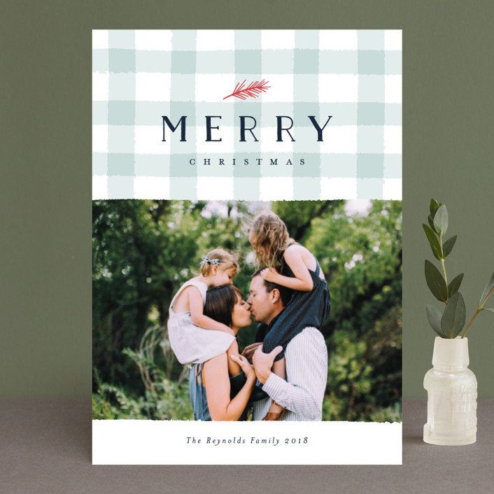 """Charming Gingham"" - Elegant, Hand Drawn Christmas Photo Cards in Mint by Carolyn MacLaren."