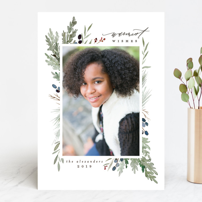 """""""Watercolor Juniper"""" - Christmas Photo Cards in Evergreen by Everett Paper Goods."""