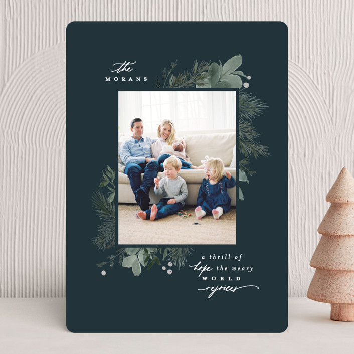"""""""Verdure"""" - Christmas Photo Cards in Midnight by Everett Paper Goods."""