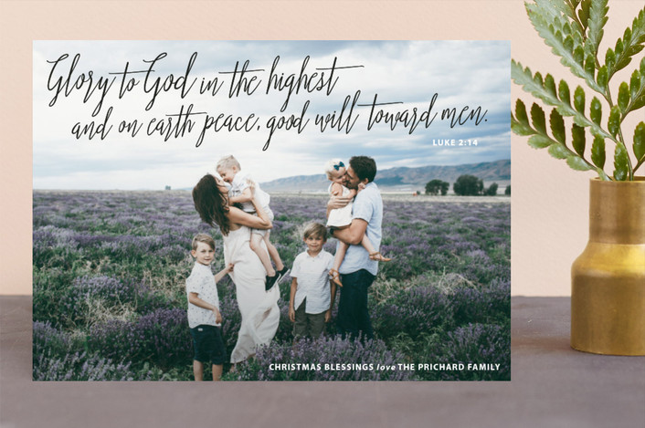 """""""And On Earth"""" - Bohemian Christmas Photo Cards in Midnight by Drango Design."""