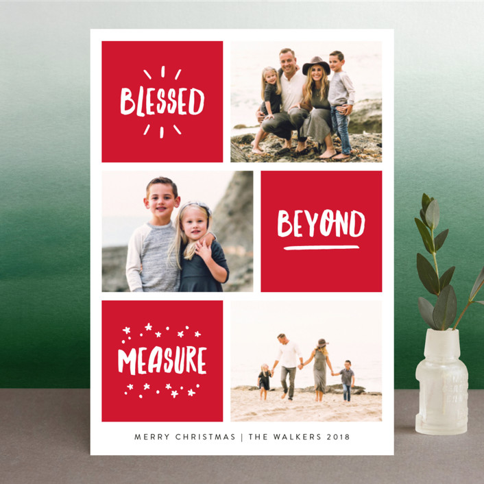 """Blessed Bliss"" - Modern Christmas Photo Cards in Holly by Kelly Nasuta."