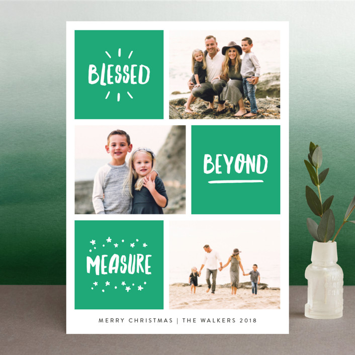"""Blessed Bliss"" - Modern Christmas Photo Cards in Jade by Kelly Nasuta."