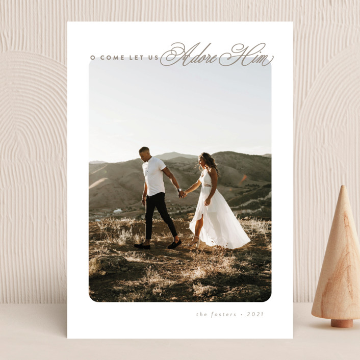 """""""O Come"""" - Christmas Photo Cards in Champagne by Brianne Larsen."""