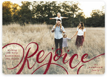 This is a red photo christmas card by Pink House Press called Rejoice! with standard printing on smooth signature in standard.