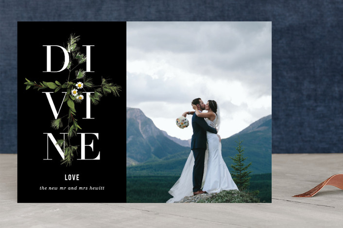 """""""Divine Love"""" - Elegant, Floral & Botanical Christmas Photo Cards in jet by Baumbirdy."""