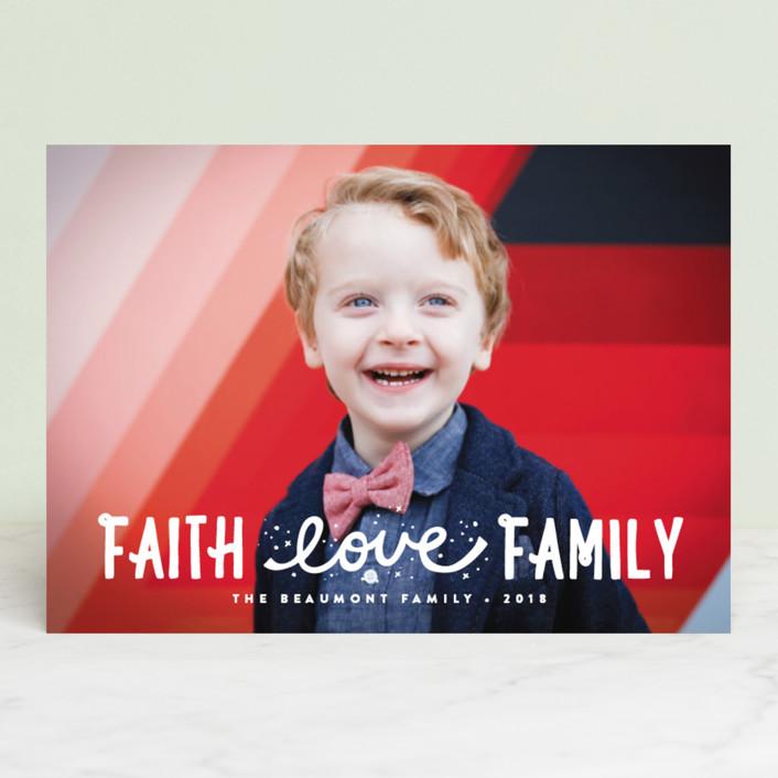 """""""Faith, Love, Family"""" - Bohemian Christmas Photo Cards in Snow by Erica Krystek."""