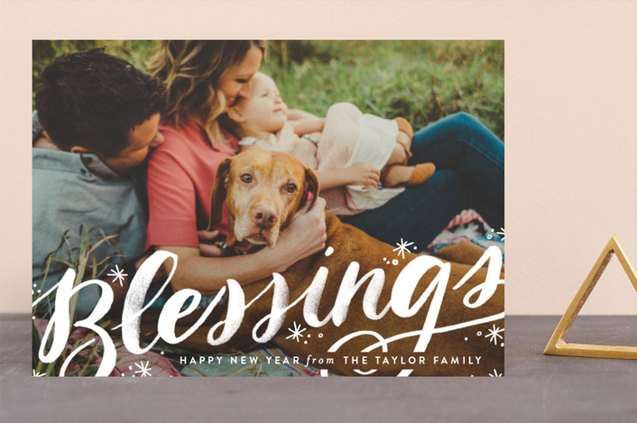 """""""Sweeping Blessings"""" - Bold typographic, Full-Bleed Photo Christmas Photo Cards in Snow by Alethea and Ruth."""