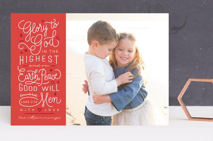 """Luke 2:14"" - Christmas Photo Cards in Santa's Hat by Four Wet Feet Studio."