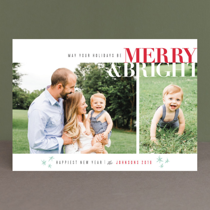 """""""Merry & Bright"""" - Christmas Photo Cards in Cherry by Carolyn Nicks."""