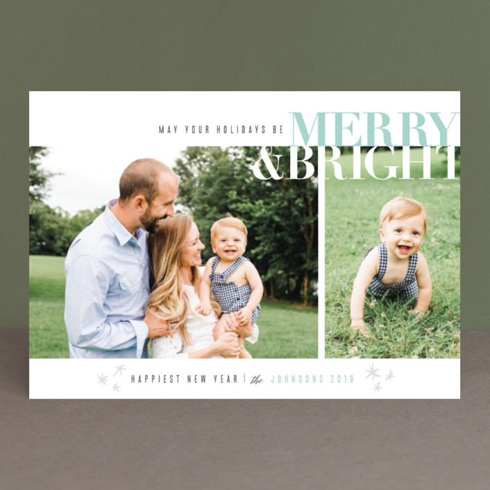 """Merry & Bright"" - Christmas Photo Cards in Cherry by Carolyn Nicks."