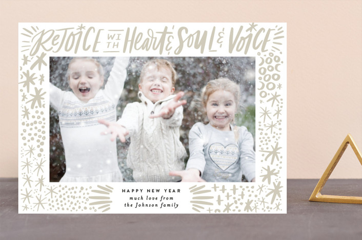 """""""Rejoice with Heart and Soul and Voice Exuberance"""" - Modern, Bohemian Christmas Photo Cards in Cream by Alethea and Ruth."""