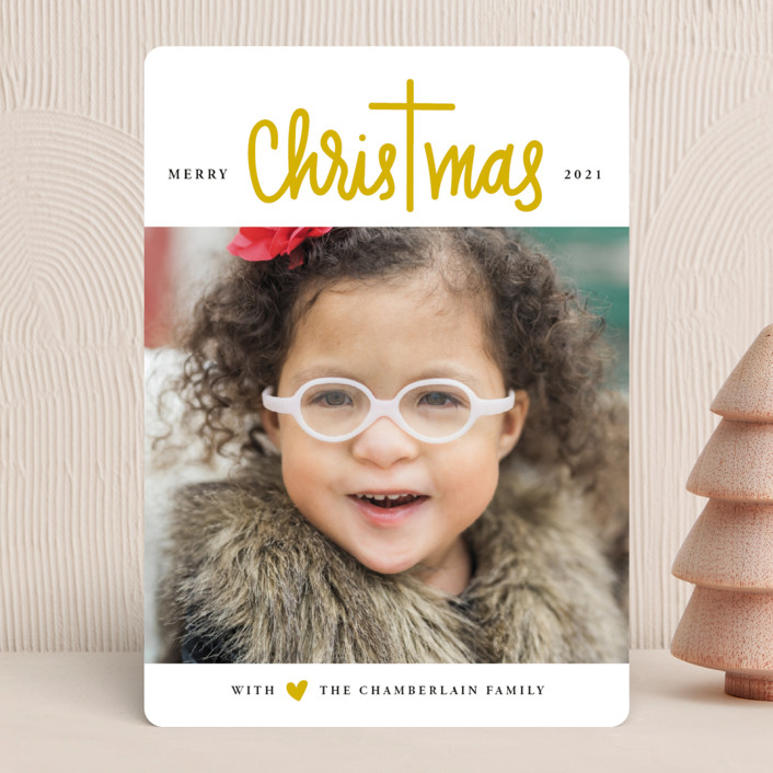 """Christ in Christmas"" - Modern Christmas Photo Cards in Reindeer Antlers by Up Up Creative."