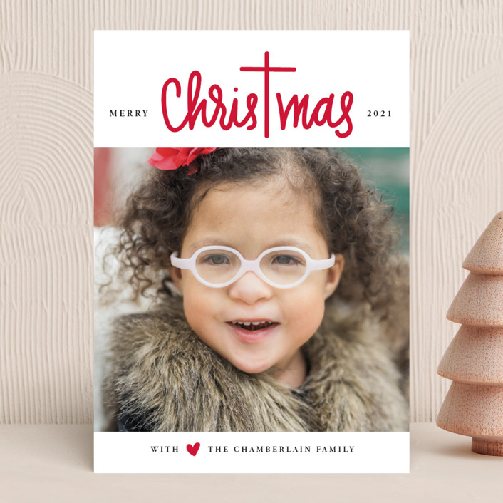 """Christ in Christmas"" - Modern Christmas Photo Cards in Rudolph's Nose by Up Up Creative."