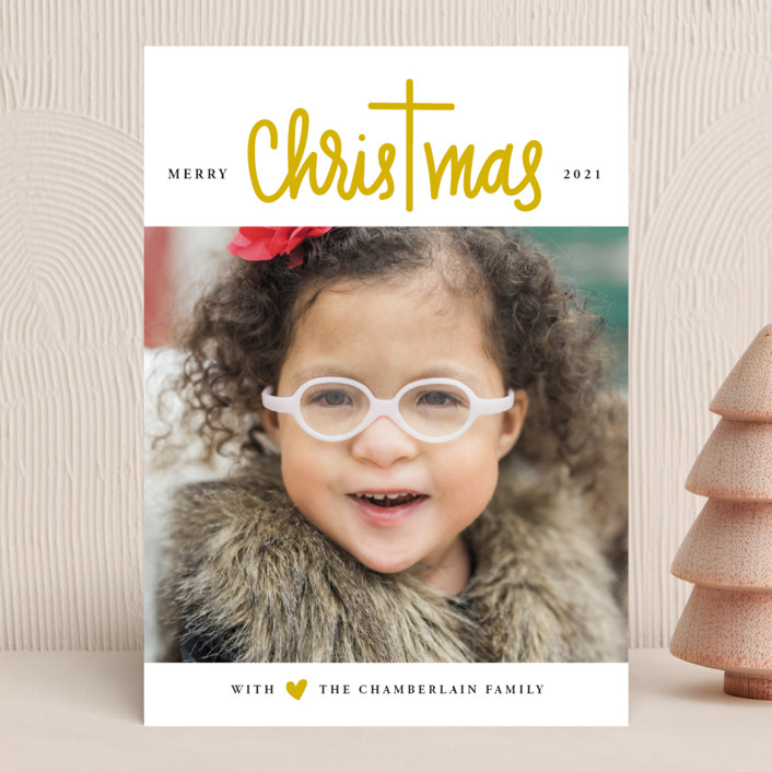 """""""Christ in Christmas"""" - Modern Christmas Photo Cards in Rudolph's Nose by Up Up Creative."""