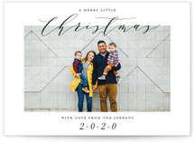 This is a black photo christmas card by Factory Made called A Merry Little Christmas with standard printing on smooth signature in standard.