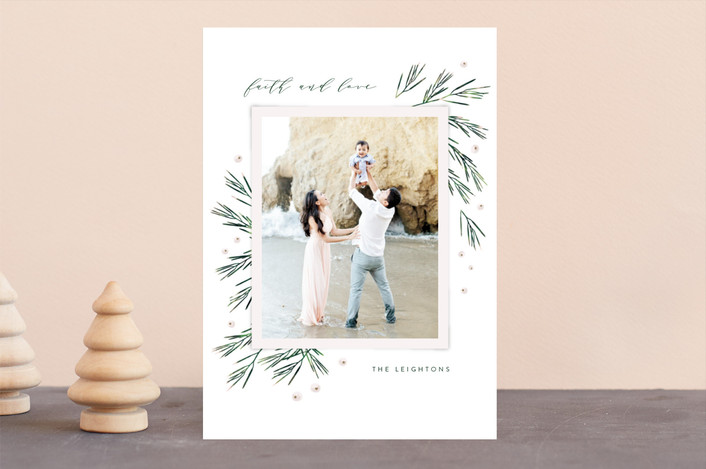 """Fresh Winter Greens"" - Christmas Photo Cards in Snow by Kristie Kern."