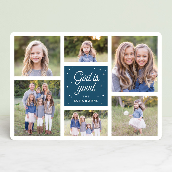 """God is Good Grid"" - Christmas Photo Cards in Deep Blue by Shari Margolin."