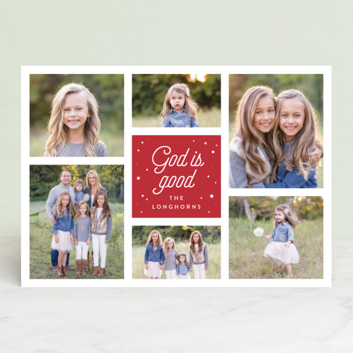 """God is Good Grid"" - Christmas Photo Cards in Cranberry by Shari Margolin."
