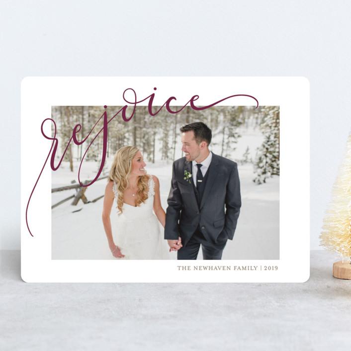 """""""Rejoicing"""" - Christmas Photo Cards in Merlot by Erin Niehenke."""