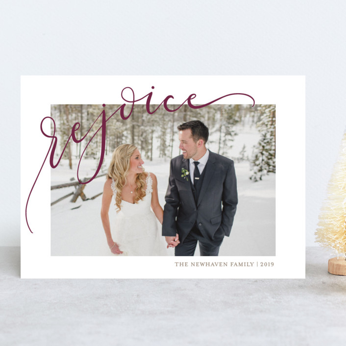 """""""Rejoicing"""" - Christmas Photo Cards in Berry by Erin Niehenke."""