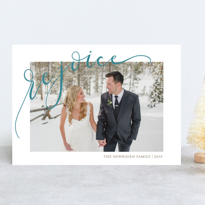 """Rejoicing"" - Christmas Photo Cards in Berry by Erin Niehenke."