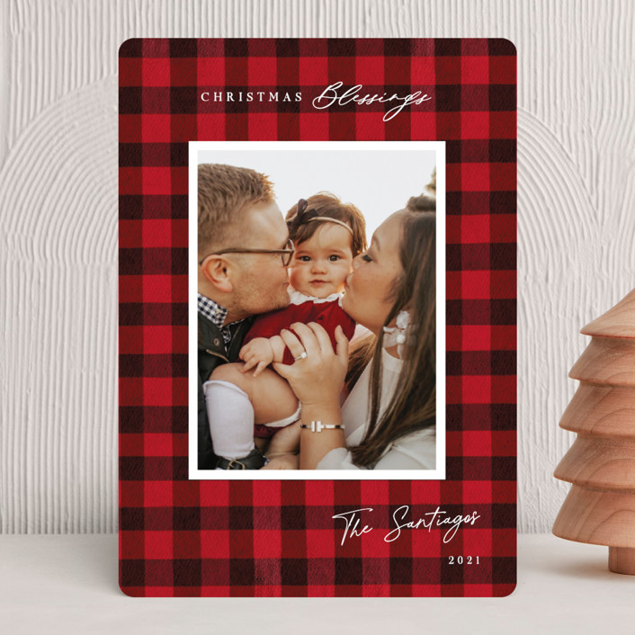 """""""Winter Plaid"""" - Vintage Christmas Photo Cards in Cherry by Elly."""