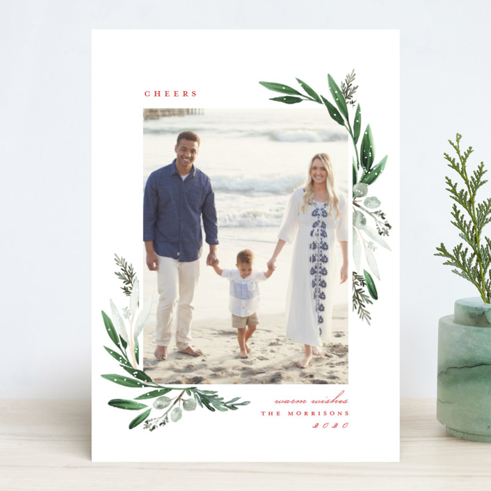 """""""Evergreena"""" - Christmas Photo Cards in Berry by Petra Kern."""