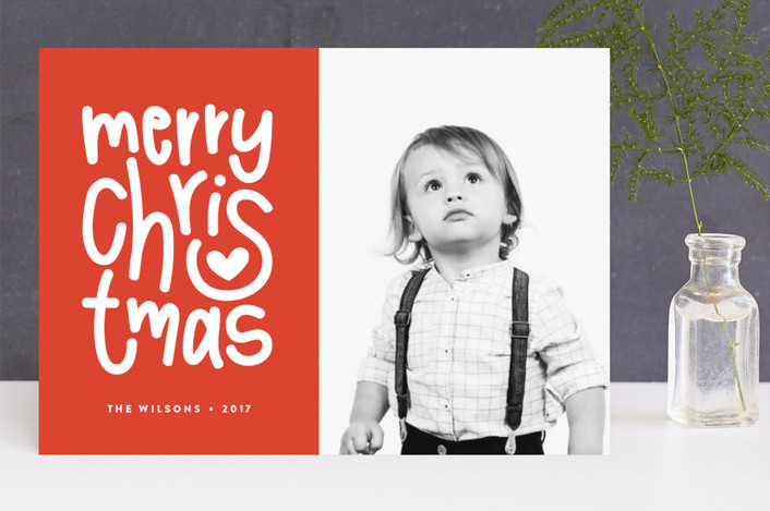 """""""Merry Heart Christmas"""" - Modern Christmas Photo Cards in Merlot by Up Up Creative."""