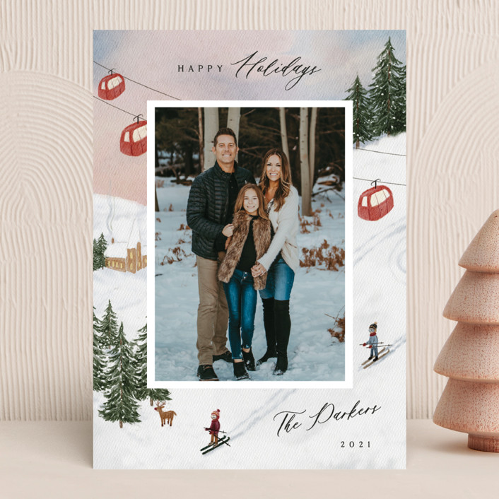 """""""Ski"""" - Vintage Christmas Photo Cards in Cranberry by Elly."""