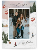 This is a red photo christmas card by Elly called Ski with standard printing on smooth signature in standard.