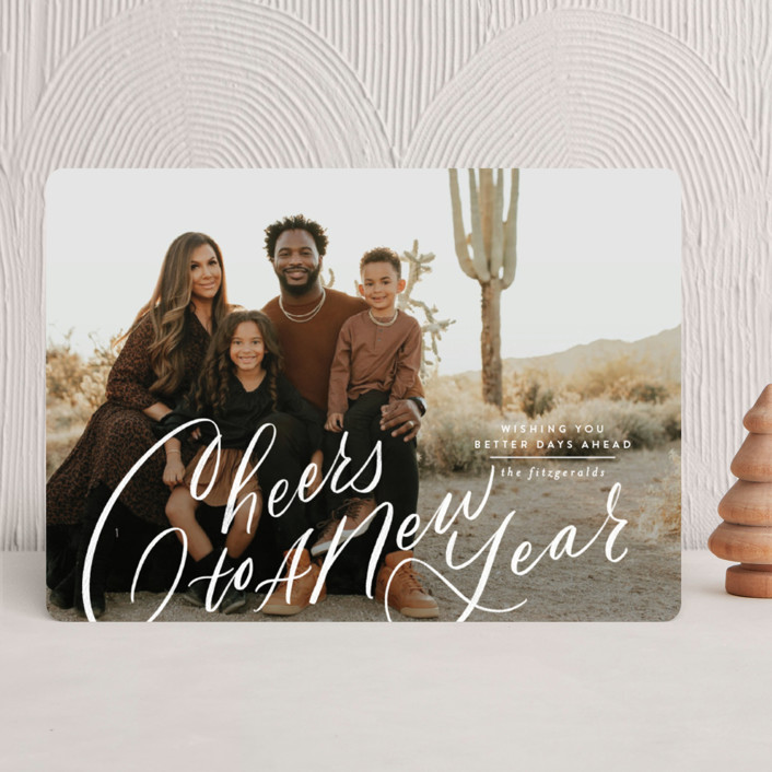 """""""Side Swept Hand Lettered joy"""" - Christmas Photo Cards in Snow by Jackie Crawford."""